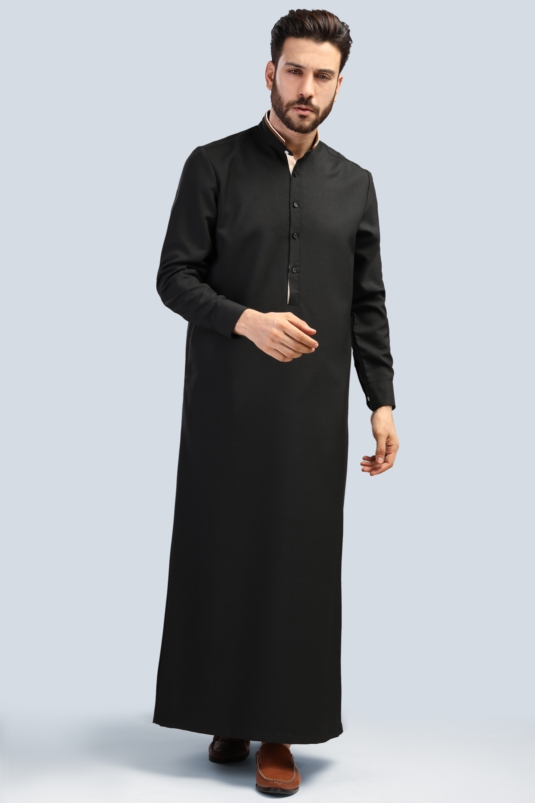 Picture of Long Suit - Long Sleeve with contrast collar (BLK)